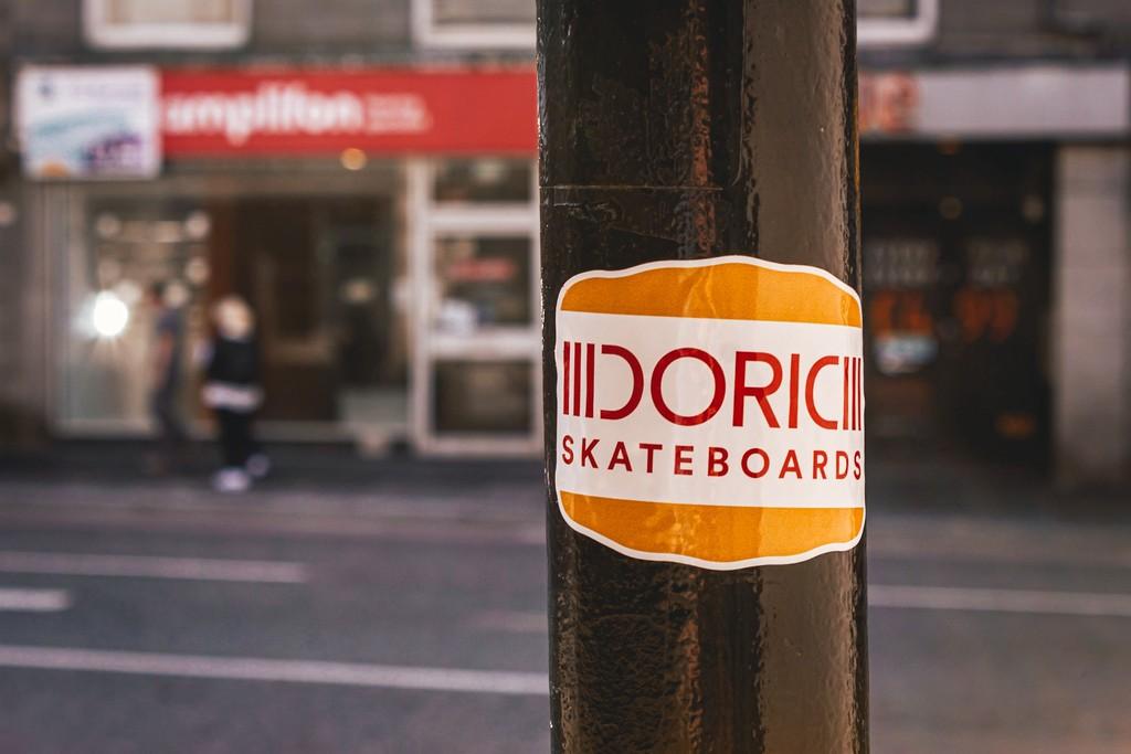 Doric Skateboards sticker in Aberdeen city centre.  Photo by Chris Sansbury