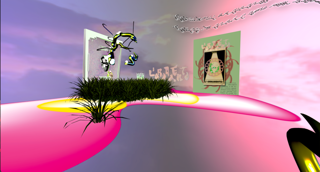 Digital 3D art with a pink background and strange insect-like objects filling the space.